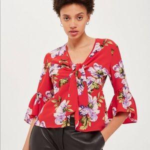 Topshop Floral Front Tie Top Bell Sleeve Sz 6